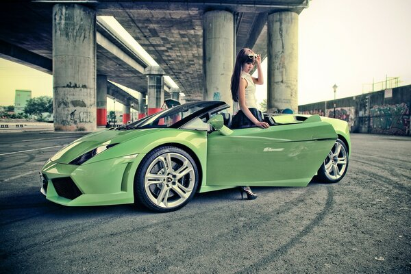 Girl With Lamborghini Gallardo