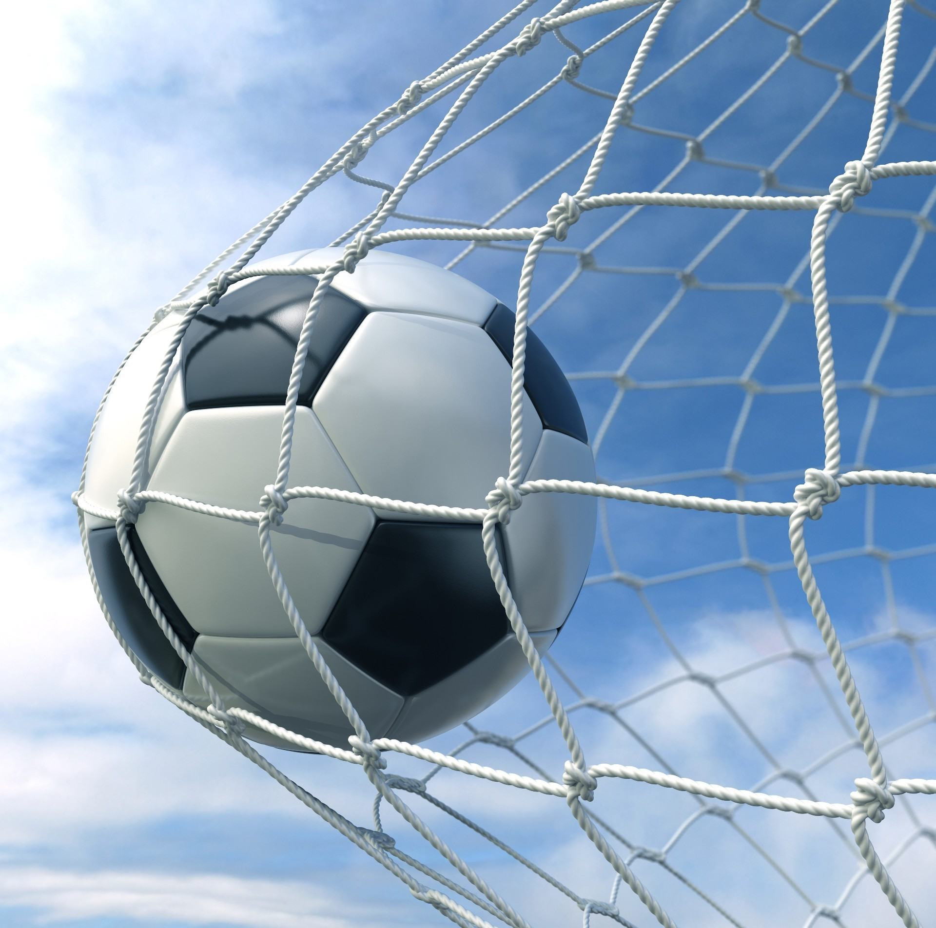 The Soccer Ball Hit Into The Net