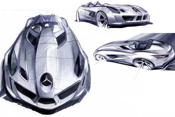 Mercedes Benz SLR Sketches