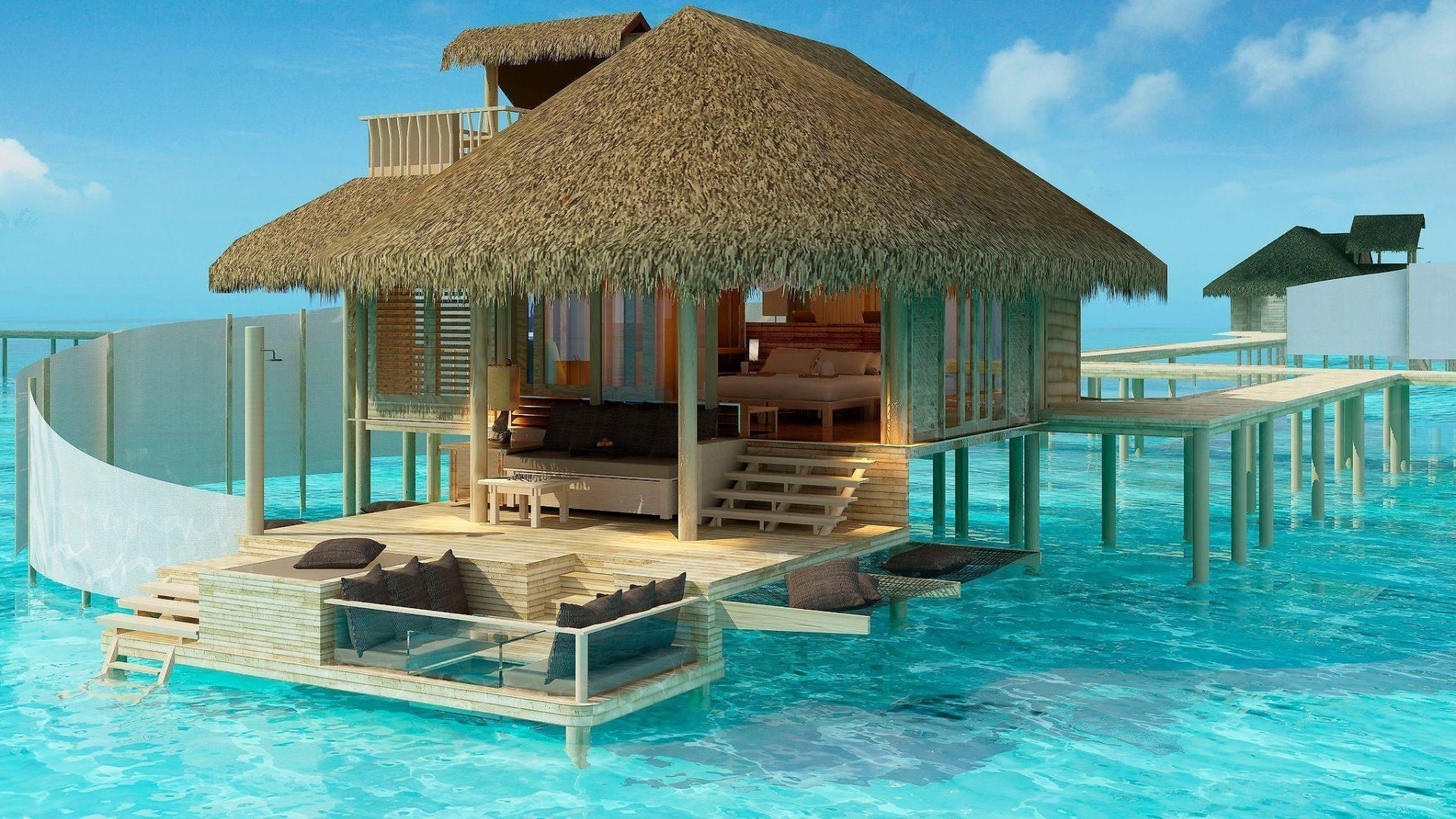 houses and cottages resort swimming hotel tropical bungalow chair exotic vacation pool relaxation luxury summer villa umbrella water paradise beach ocean turquoise leisure