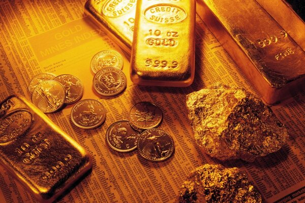 Coins, ingots, gold nuggets
