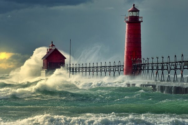 Lighthouse Stormy Sea