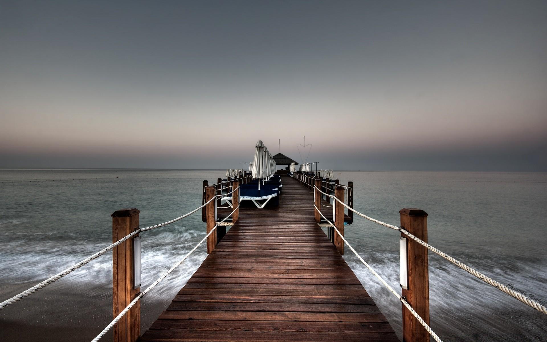 причал фонари берег море pier lights shore sea  № 2555087  скачать