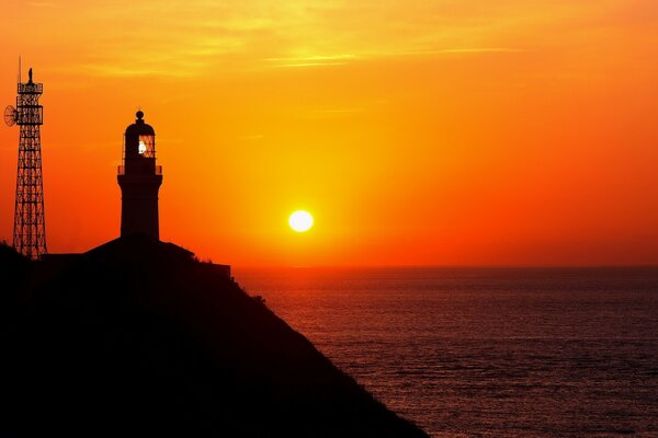Lighthouse Silhouette At Sunset