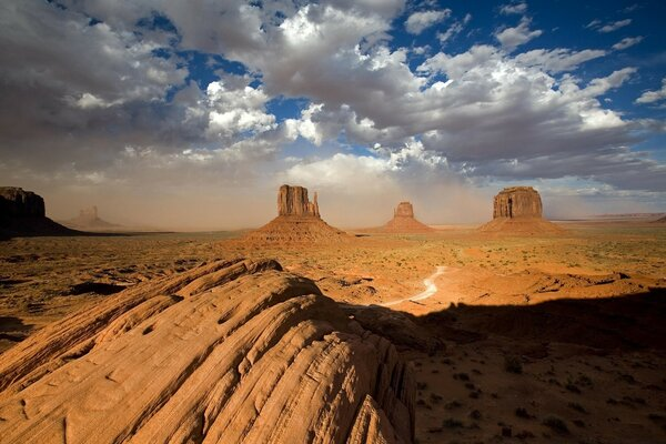 Sandstorm In Monument Valley Utah