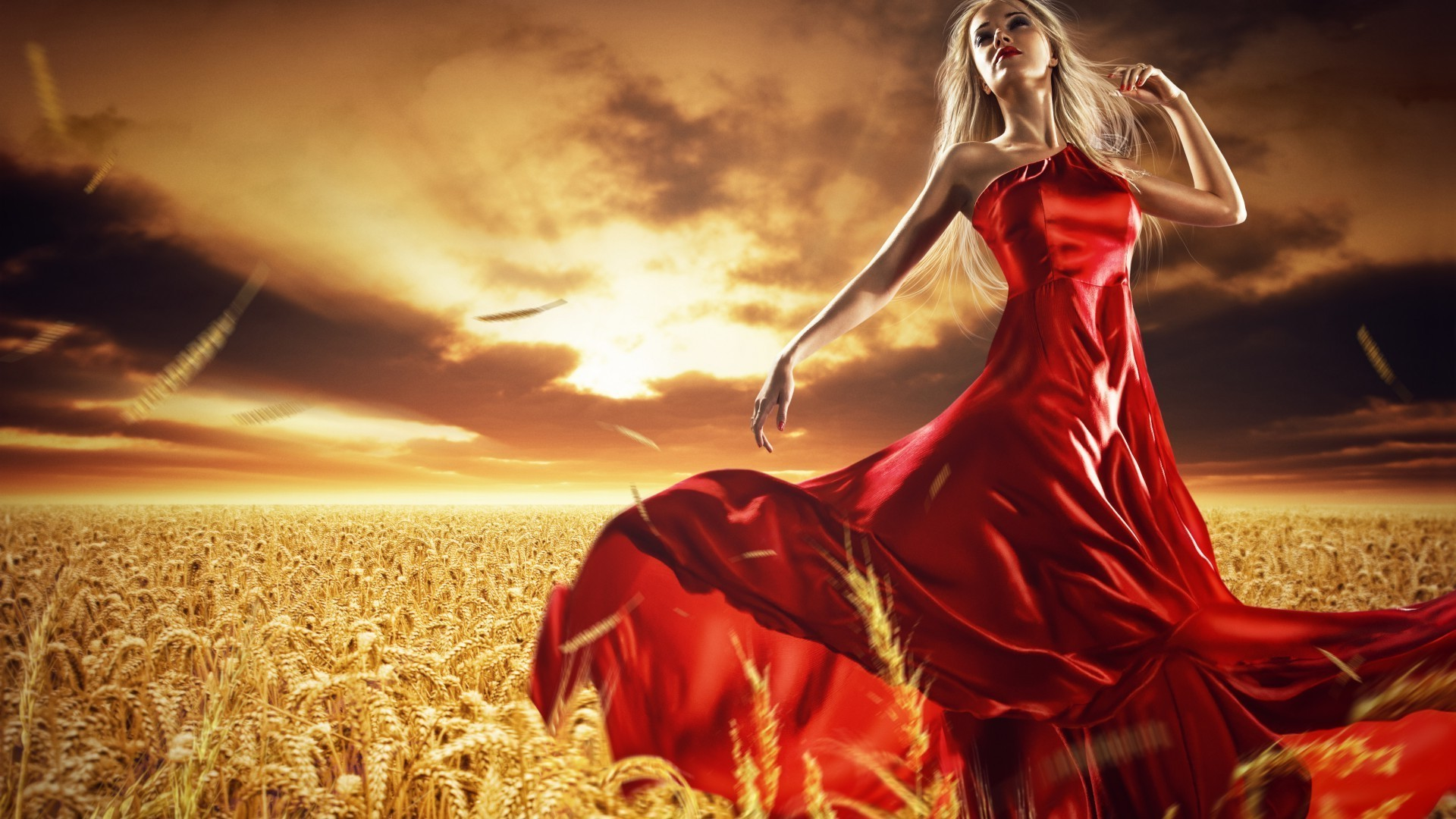 dressed girls gold nature sunset summer wheat sky woman