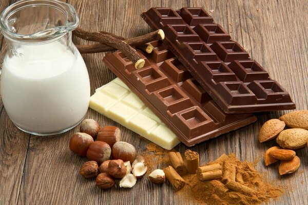 Chocolate, nuts, milk - the set of hormones of happiness