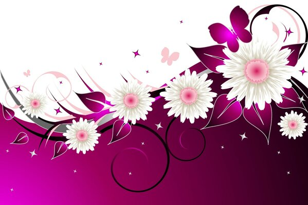 White-purple background with flowers