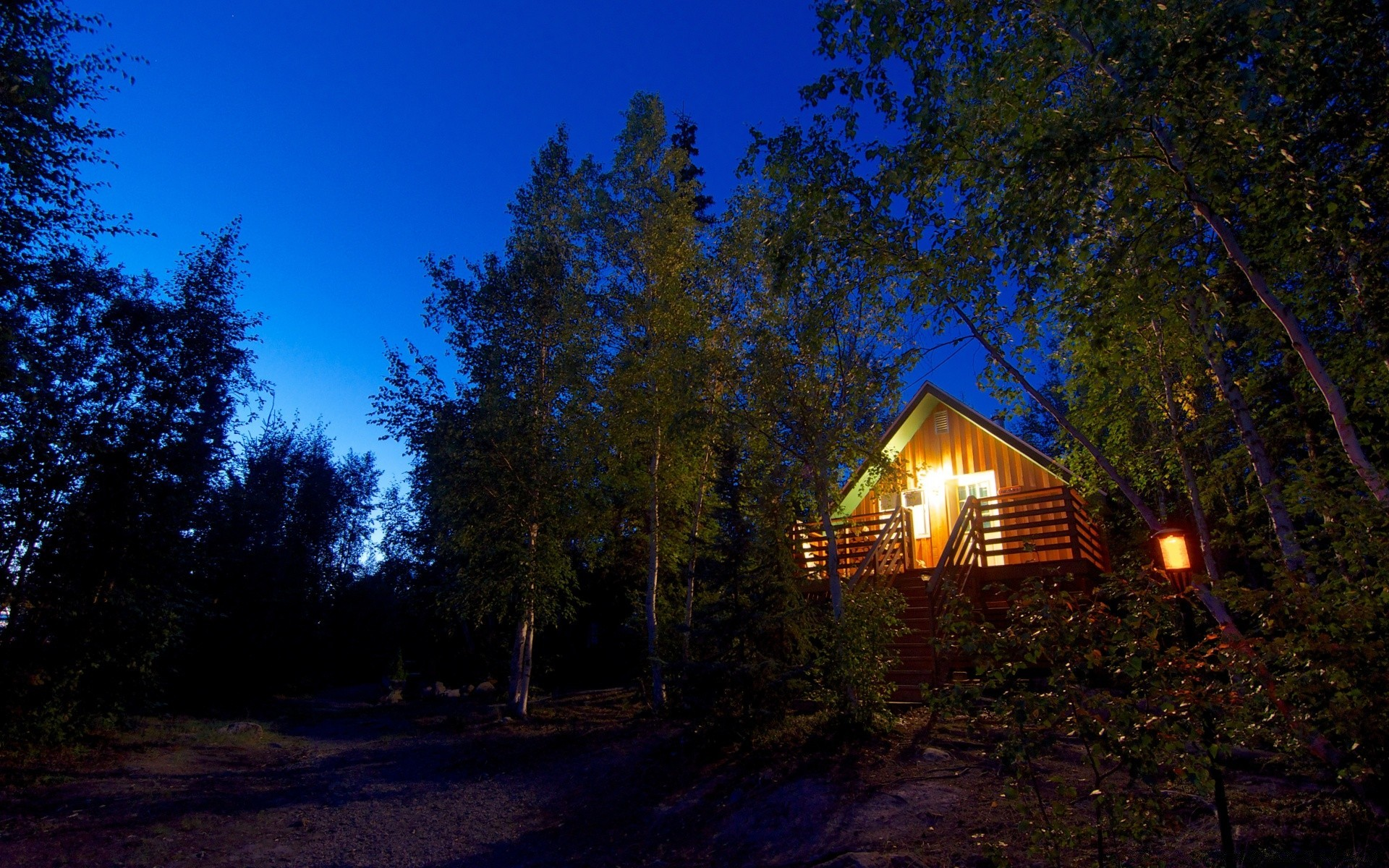 Cabin In The Woods Night Free Wallpapers