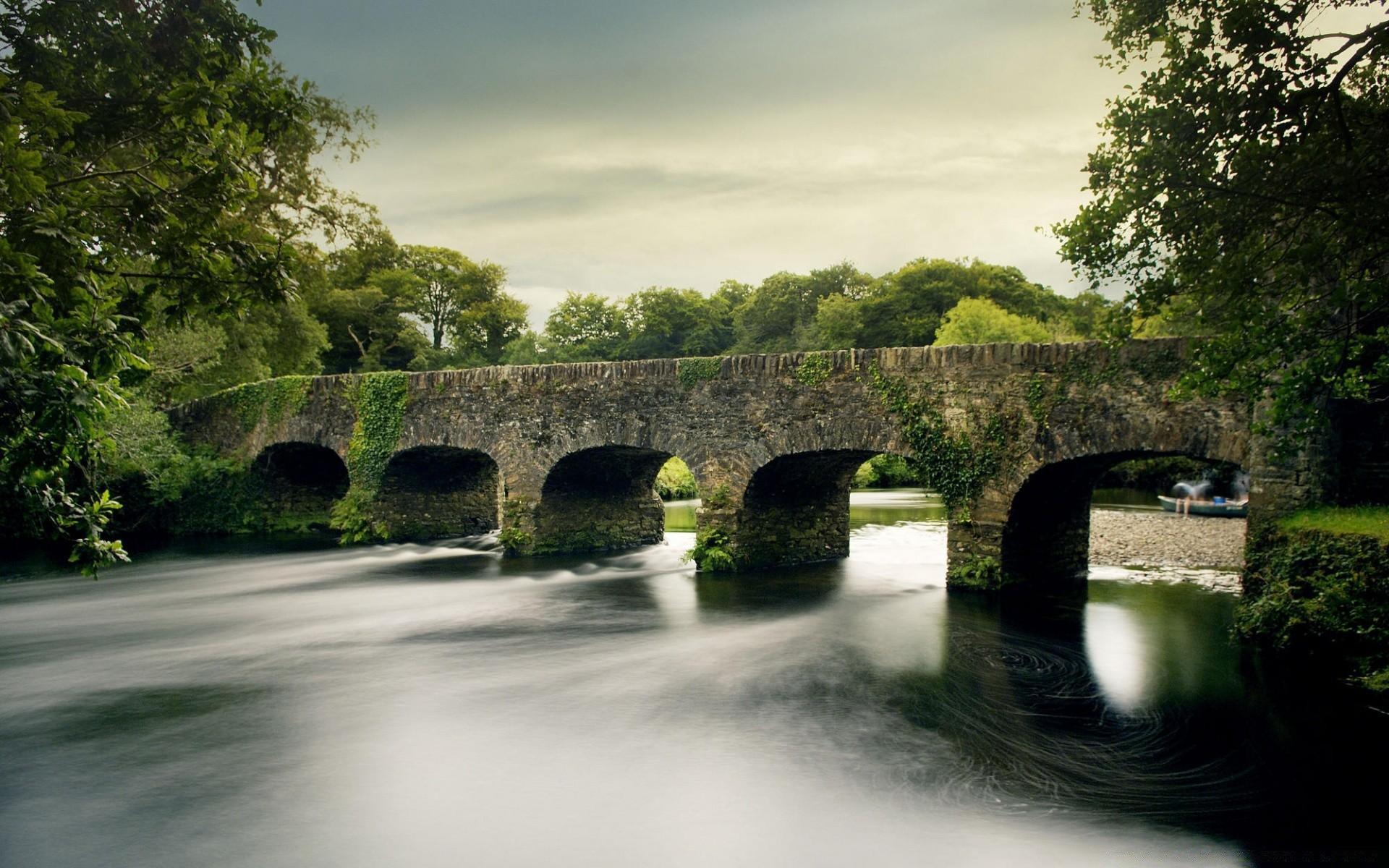 архитектура мост природа деревья скачать