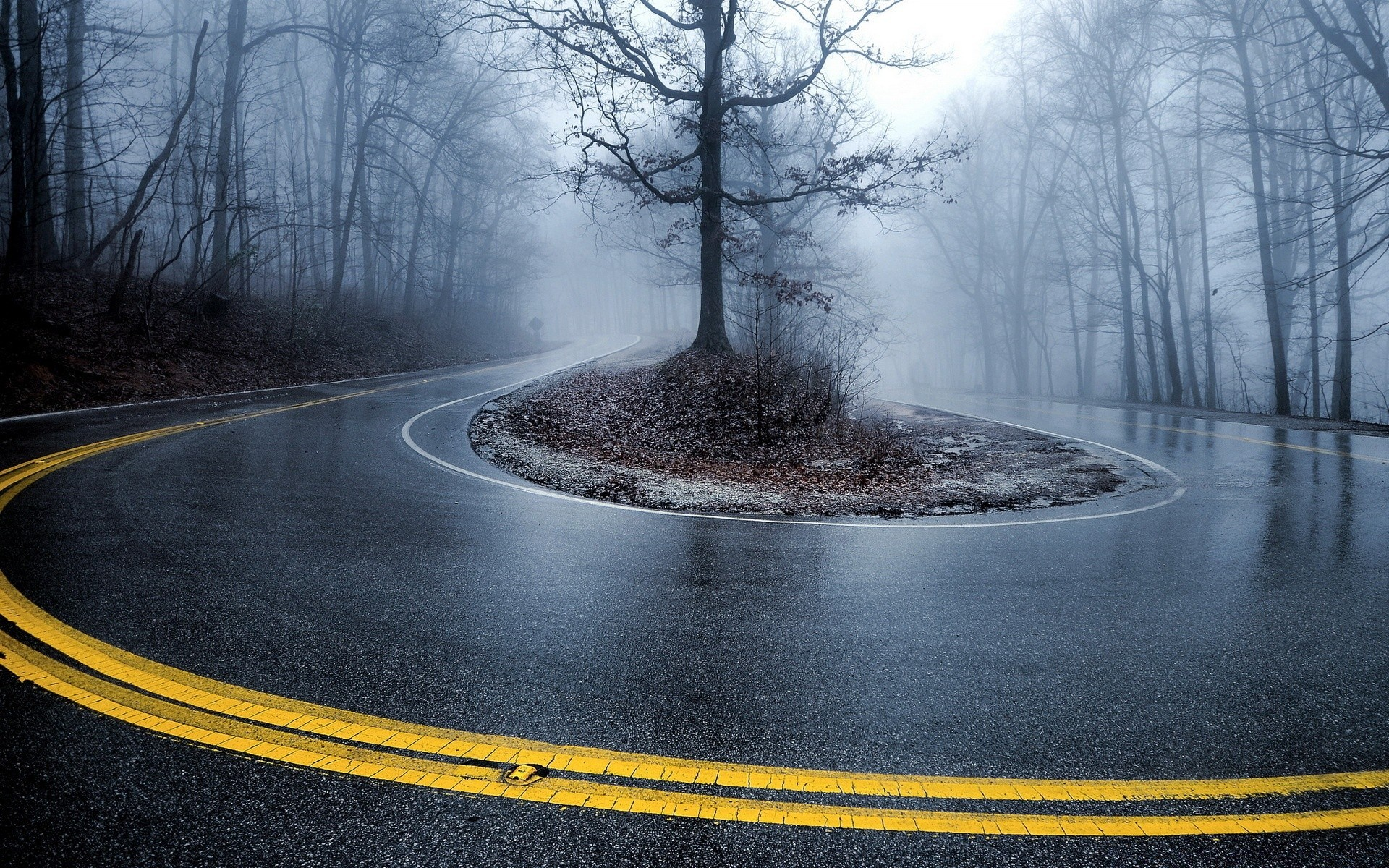Foggy Road Android Wallpapers