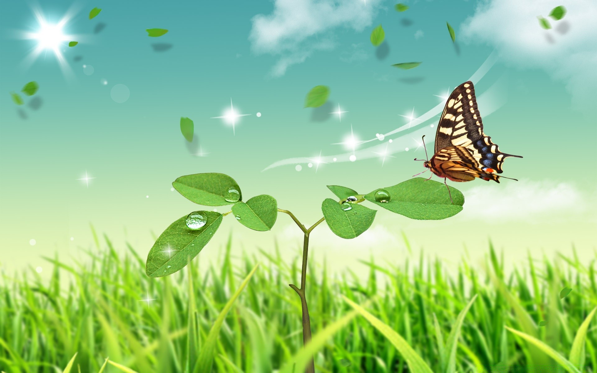 бабочка на зеленой траве  № 1396140 бесплатно