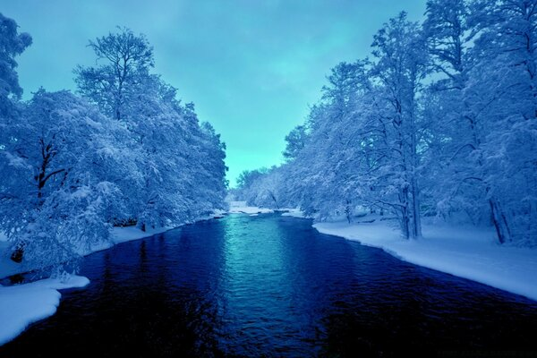 Cold Blue Winter River