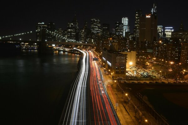 Manhattan Traffic At Night