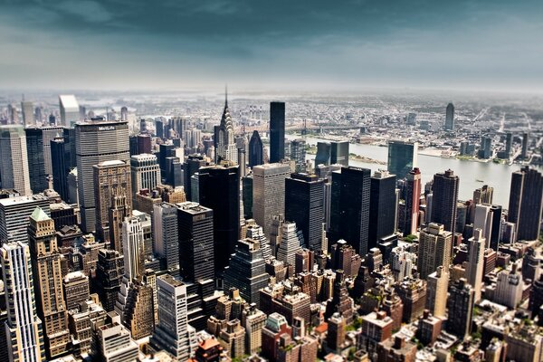 Aerial View of New York City Tilt Shift Photography