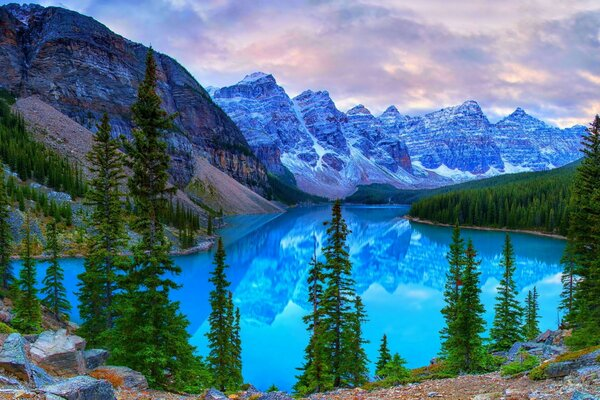 Mountains, Moraine Lake, Banff National Park, Canada
