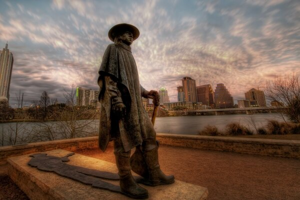 The Stevie Ray Vaughan Memorial Statue in Austin