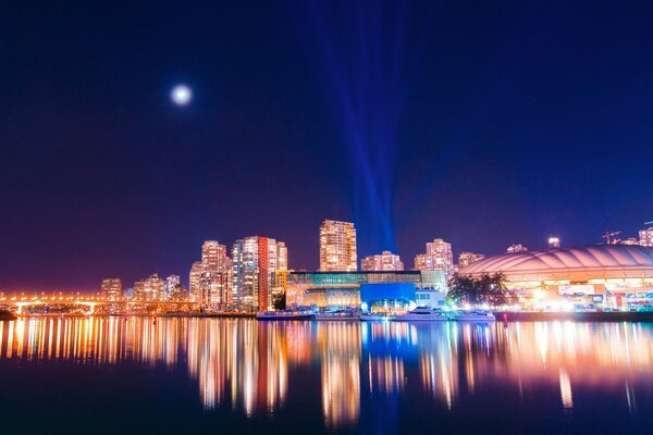 Vancouver Reflection At Night