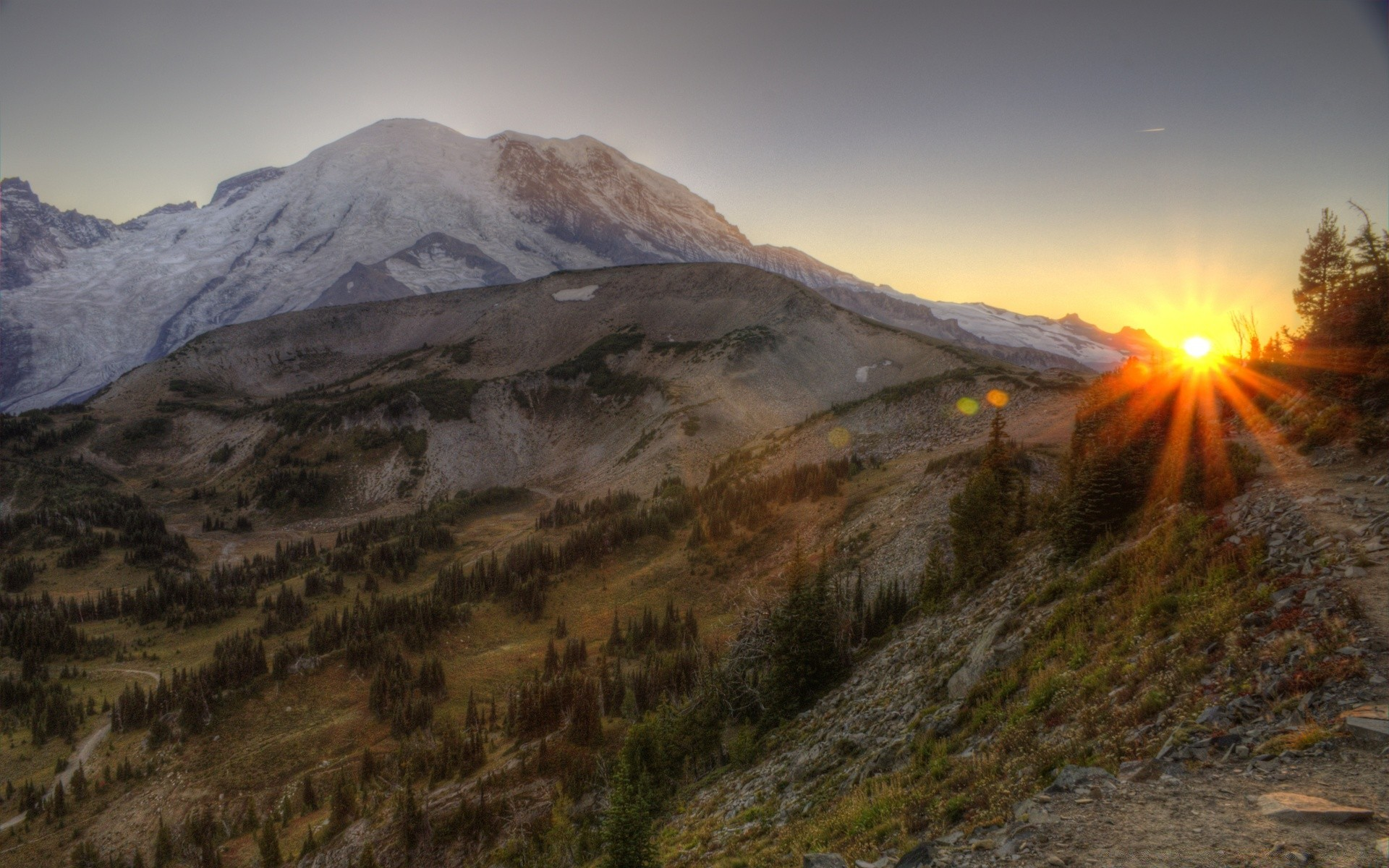 mount rainier national park hdr. android wallpapers for free.