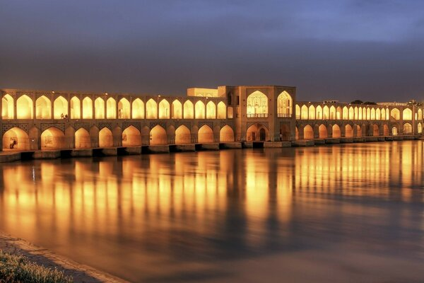 Khaju Bridge At Dusk, Isfahan, Iran
