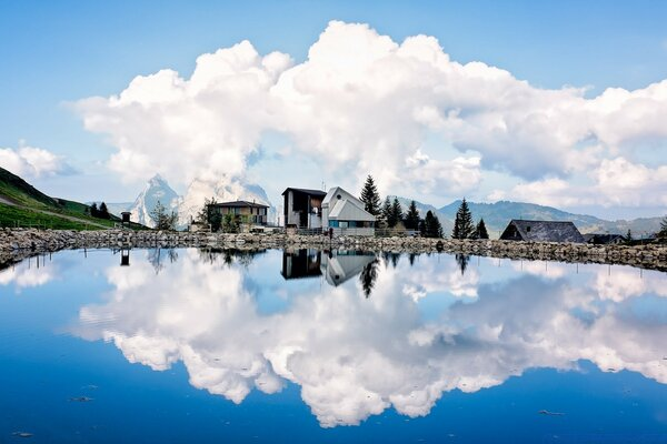 Cumulus Clouds Reflection