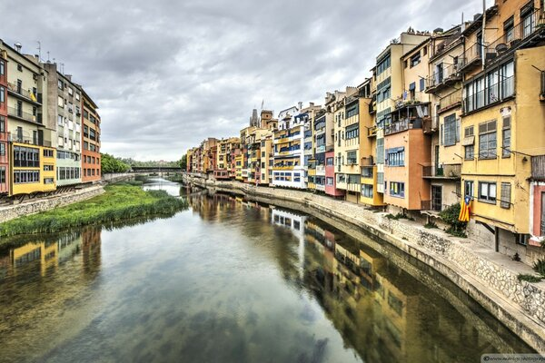 The Houses on the River Onyar Girona, Catalonia