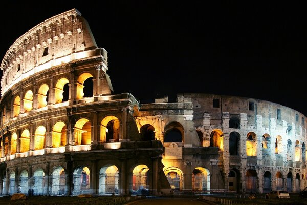 Lighted Colosseum