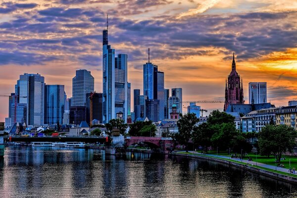 Frankfurt Skyscrapers Skyline, Main River, Germany