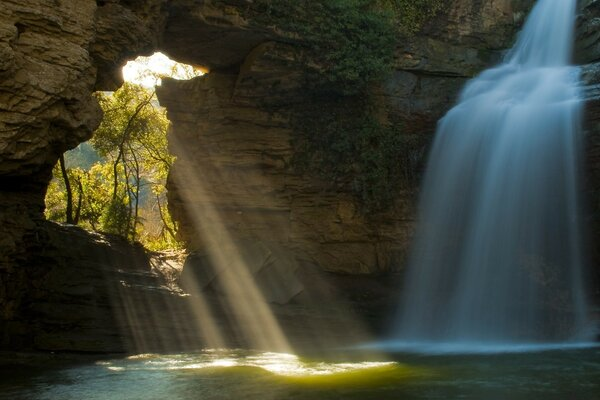 Limestone Cave And Waterfall, The Foradada, Catalonia, Spain