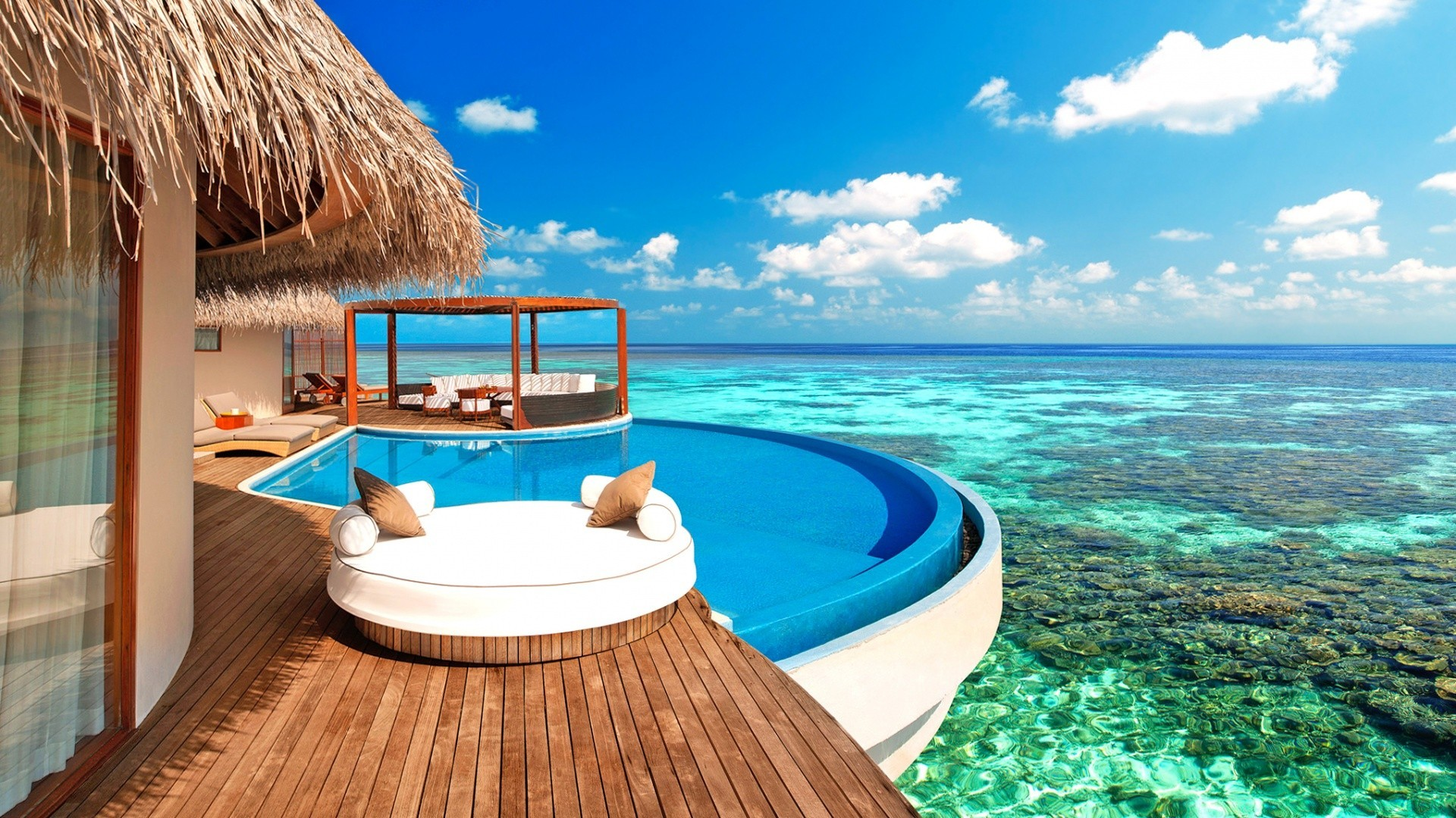 islands tropical water resort relaxation travel beach vacation summer turquoise chair ocean island idyllic sea sand seashore exotic hotel paradise